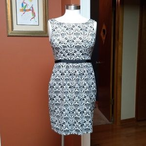 Ann Taylor Loft black/white pattern sundress